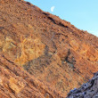 Golden Canyon Wall Moon Death Valley National Park California — Foto Stock