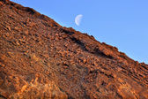 Golden Canyon Wall Moon Death Valley National Park California — Stock Photo