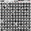 Social media icons - black edition - final vector - Stock Vector