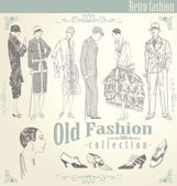 Retro fashion set — Stock Vector