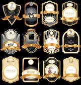 Vector set: gold-framed labels — Stock Vector