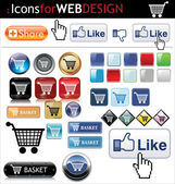 Web buttons big pack — Stock Vector