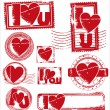 Stamp of Love - Various Stamps - Stok Vektör