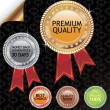 Set of gold silver bronze glossy labels — Stockvektor