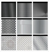 Metal texture 9 set. Illustration vector. — Stock Vector