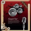 Vector illustration for a musical theme with speakers and abstract design e - Stock Vector