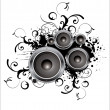 Royalty-Free Stock Vector Image: Abstract black and white speaker design background illustration.