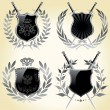 Set of shields in 4 different shapes — Stock Vector