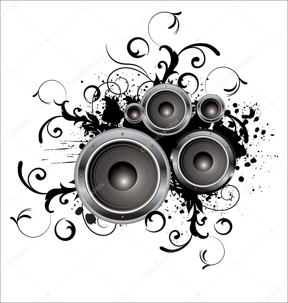 Abstract black and white speaker design background ...