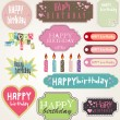 Happy Birthday Card Set, Vector Illustration — Vector de stock