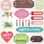 buon compleanno carta insieme, illustrazione vettoriale — Vettoriale Stock