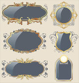Llustration set gray gold-framed labels - vector — Stock Vector