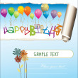 Stock Vector: Happy birthday greeting card with blank place for your wishes and message