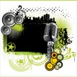 Vector retro music background with microphone — Stock Vector