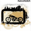 Retro vector background with a motorcycle — Stock Vector