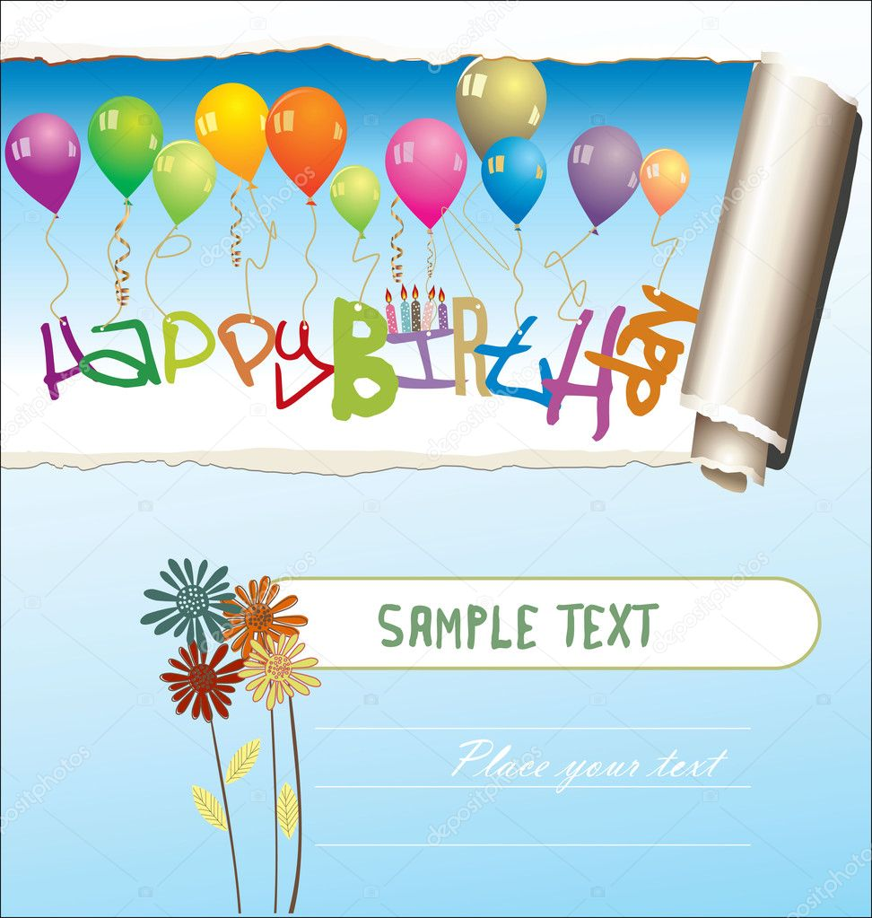 happy birthday greeting card with blank place for your wishes and, Birthday card