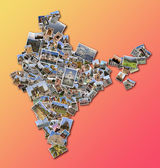 Collage India map with collection of famous places photos — Stock Photo