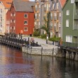 Wooden colorful buildings in Trondheim - ストック写真