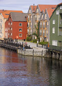 Wooden colorful buildings in Trondheim — Stock Photo