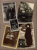 Collection of old family photos — Stock Photo