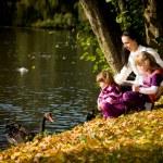 年轻的家庭,在秋天的公园 — 图库照片