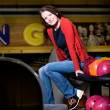 Bowling girl - Stock Photo