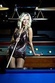 Billiard girl — Stock Photo