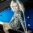 Billiard girl — Stock Photo