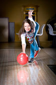 Bowling girl — Stock Photo