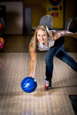 Bowling girl — Stock Photo