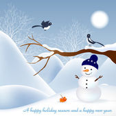 Blue Christmas background with snowman and birds — Stock Photo