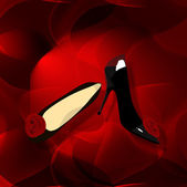 Red abstract background with shoes — Stock Photo