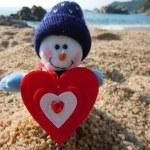 Snowman in love — Stock Photo