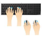 Att skriva på tangentbord och mus — Stockvektor