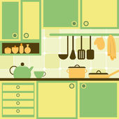 Vector illustration with kitchen — Stock Vector