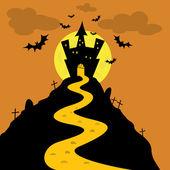 Castillo de la noche de halloween — Vector de stock