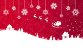 Red Christmas banner with Santa Claus — Stock Vector
