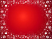 Snowflakes and stars Christmas red frame — Stock Photo