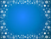 Snowflakes and stars Christmas blue frame — Stock Photo