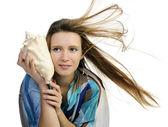 Girl with seashell — Stock Photo