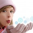 Girl with snowflake — Stock Photo #7808845