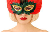 Girl in red mask — Stockfoto