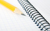 Blank notebook and pencil — Stockfoto