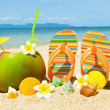 OceBeach with palm and exotic coctail — Stock Photo #6894928