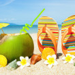 OceBeach with palm and exotic coctail — Stock Photo #6894984