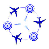 Logo with planes in blue colors — Stock Photo