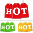 Vector tags with hot sign - Stock Vector