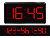 Vector Red Digital Clock — Stock Vector