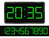 Vector Green Digital Clock — Stock Vector