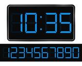 Reloj digital vector azul — Vector de stock